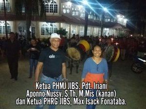 Ketua PHMJ JIBS, Pdt. Iriani Aponno-Nussy STh MMis (kanan) dan Ketua PHRG JIBS Max Isack Fonataba