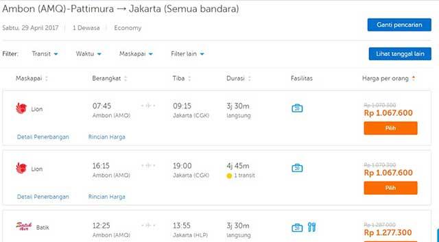 Harga tiket Ambon-Jakarta penerbangan 29 April 2017