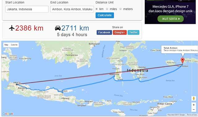 Jarak Ambon-Jakarta