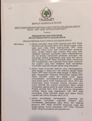 SK DPP PG Nomor: KEP-218/DPP/GOLKAR/IV/2017,