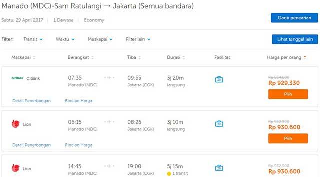Harga tiket Manado-Jakarta penerbangan 29 April 2017