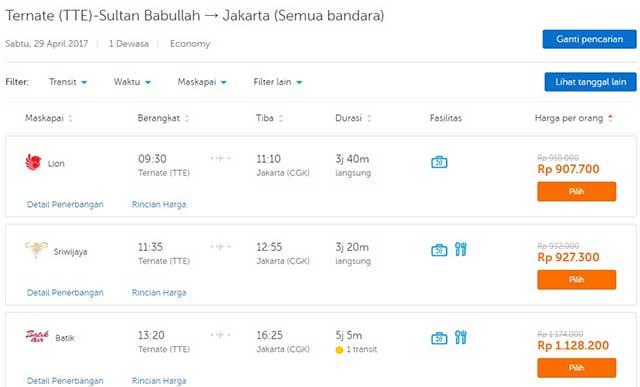 Harga tiket Ternate-Jakarta penerbangan 29 April 2017