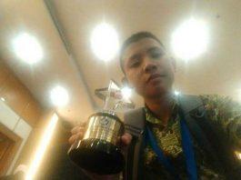 Alberto Pasaribu, siswa SMP N 1, Kabupaten Sorong, peraih juara harapan 3 dalam lomba debat bahasa Indonesia di Jakarta.