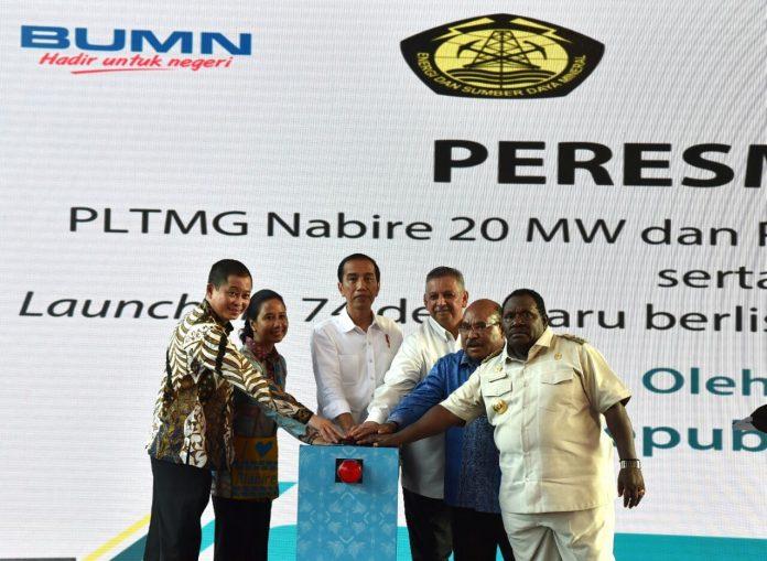 Peresmian Pembangkit Listrik Tenaga Mesin Gas (PLTMG) Nabire 20 MW dan PLTMG Jayapura 50 MW oleh Presiden Joko Widodo di Nabire, Rabu (20/12).