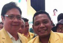 Ketua PG Papua Barat Rudi Timisela bersama Ketua Umum PG hasil Munaslub, Airlangga Hartanto.(foto: ist)