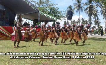 Tarian adat mewarnai prosesi ibadah peringatan HUT ke-163 Pekabaran Injil di Tanah Papua, 5 Februari 2018.