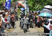 Presiden Naik Motor Tinjau Padat Karya Tunai Sukabumi