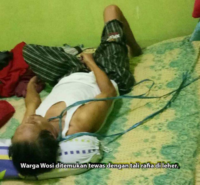 Warga Wosi ditemukan tewas dengan tali di leher.