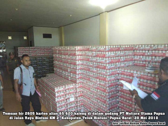 Wow, Tim Gabungan Temukan 2605 Karton Bir di Gudang PT Mutiara Utama Papua