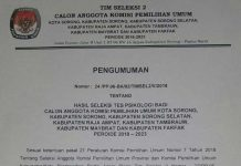 Ini Hasil Psiko Test Calang KPU Wilayah 2 Papua Barat