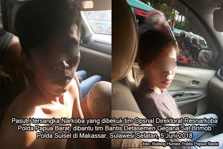 Polda PB Tangkap Pasutri Tersangka Narkoba di Makassar
