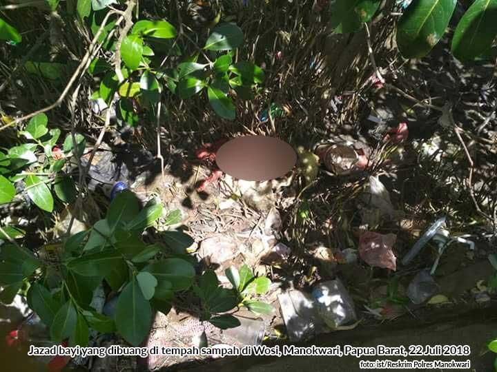 Biadab Bayi Baru Lahir Dibuang di Tempat Sampah di Wosi