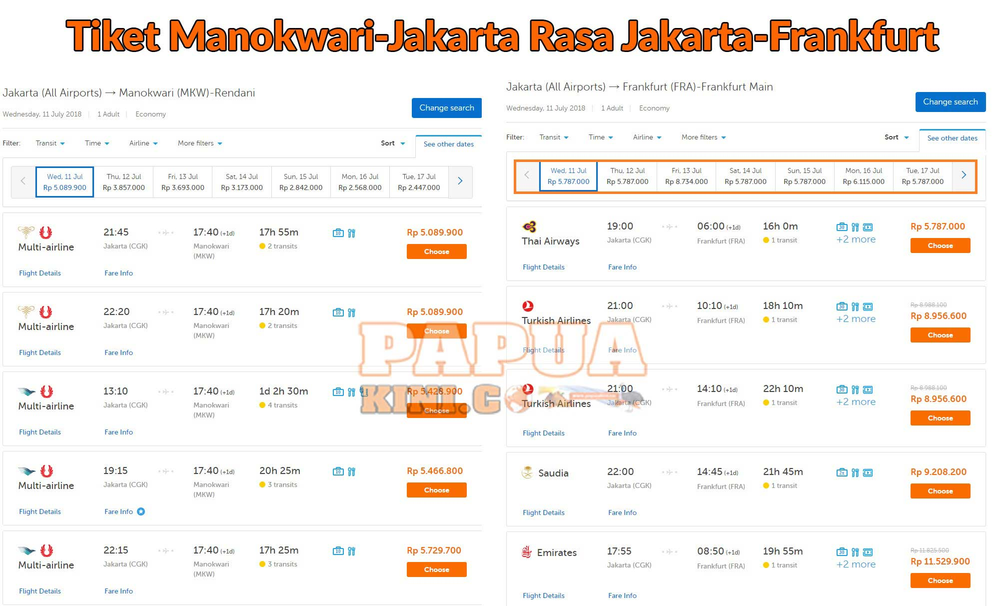 Pesparamanas XV Mendekat, Tiket Jakarta-Manokwari Rasa ke Frankfurt