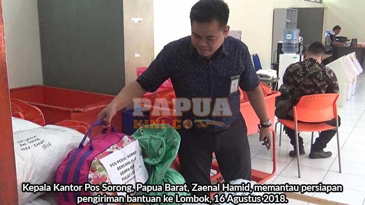 Kantor Pos Sorong Siap Kirim 35 Koli Bantuan Gempa Lombok