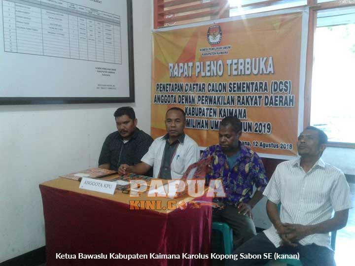 Ketua Bawaslu Kabupaten Kaimana Karolus Kopong Sabon SE