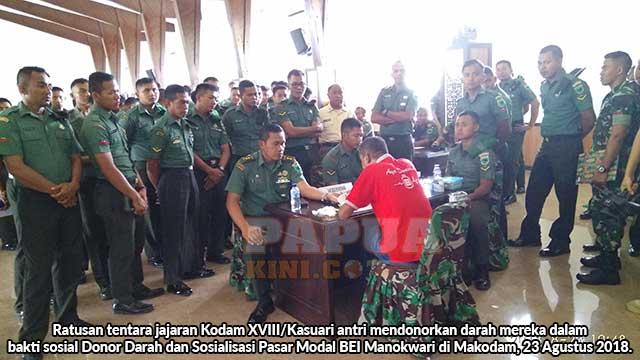 Ratusan TNI Donor Darah BEI Manokwari