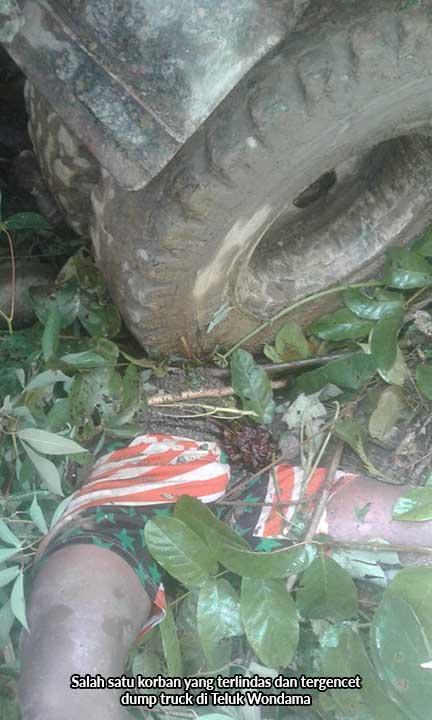 Tiga Tewas Tergencet Ban Dump Truck di Wondama