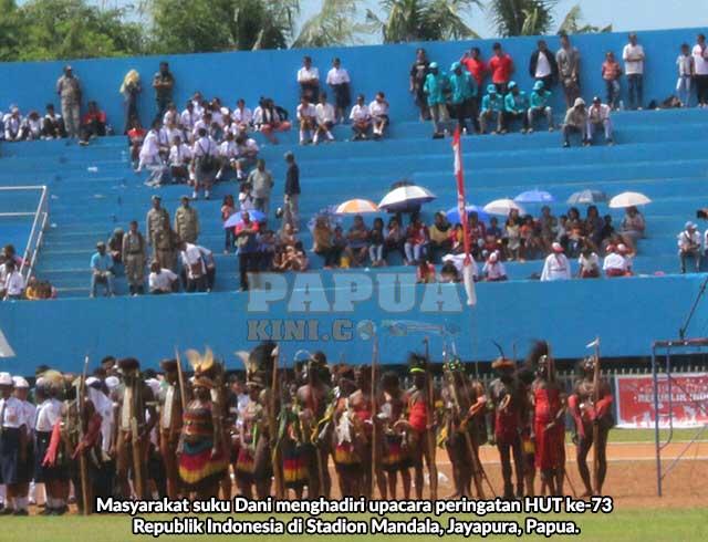 Masyarakat Suku Dani Meriahkan HUT ke-73 RI di Jayapura