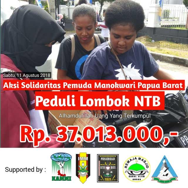 Aksi Pemuda Papua Barat Peduli Lombok Galang 37 Juta