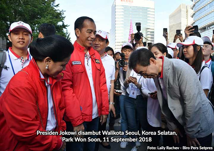 Presiden Jokowi disambut Walikota Seoul, Park Won Soon, 11 September 2018.
