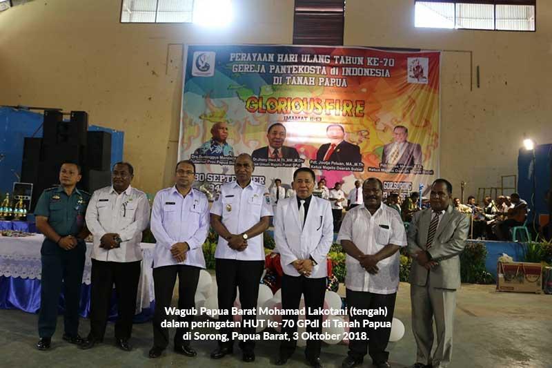 HUT ke-70 GPdI di Tanah Papua, Wagub Ajak Umat Kristen Jaga Kamtibmas