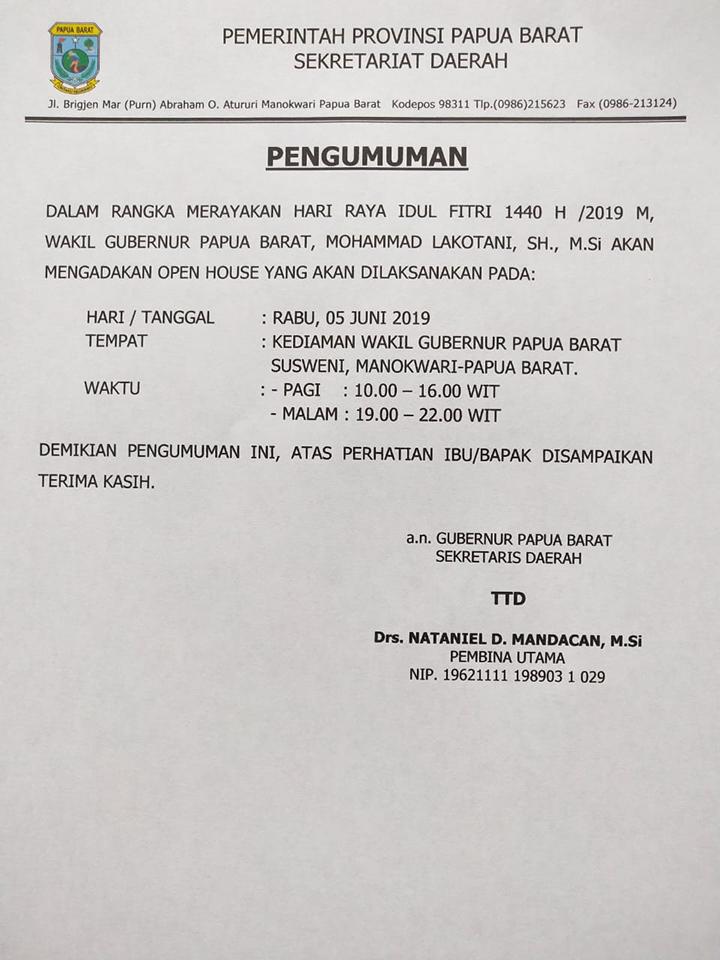 Ini Jadwal Open House Wakil Gubernur Papua Barat