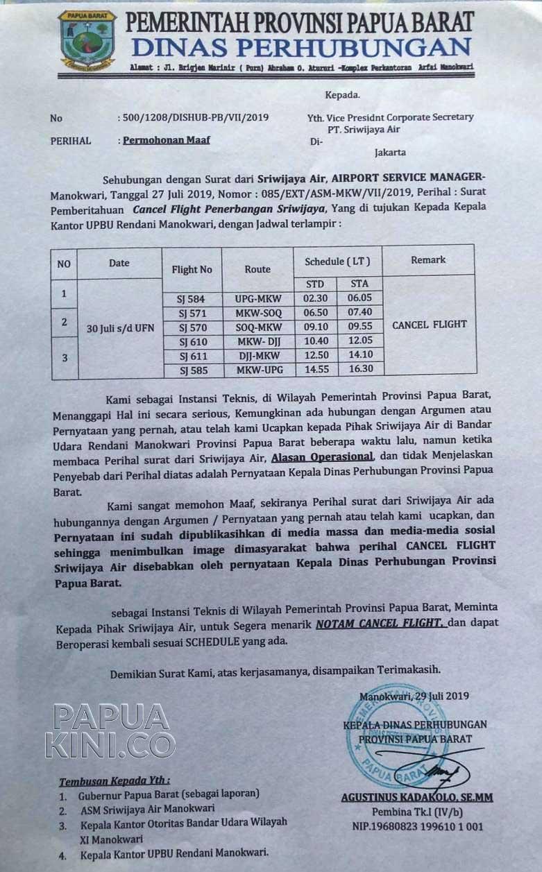 Dinas Perhubungan Papua Barat Minta Maaf pada Sriwijaya Air