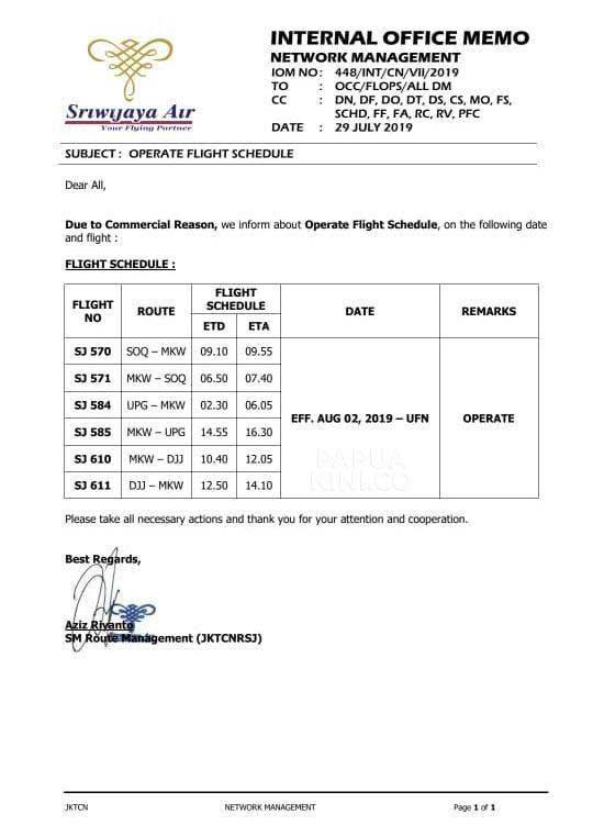 Yes, Sriwijaya Air Operasi Lagi di Manokwari Mulai 2 Agustus