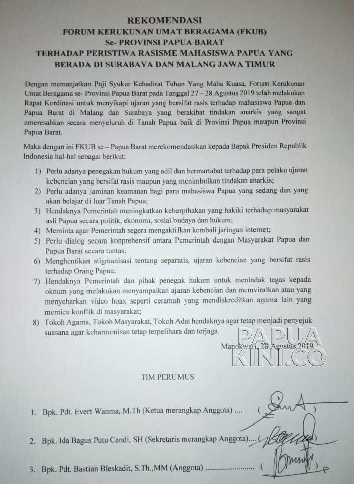 FKUB Papua Barat Minta Tindakan Tegas, Ajukan 8 Rekomendasi