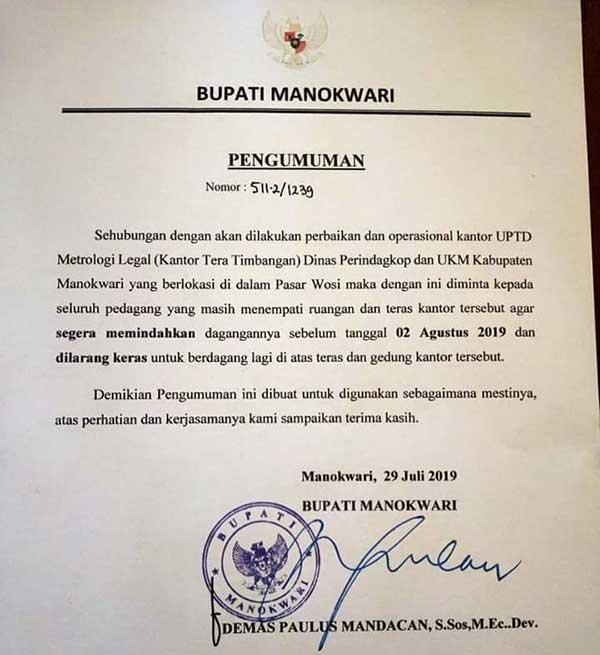Sejumlah Pedagang Pasar Wosi Harus Pindah Sebelum 2 Agustus 2019