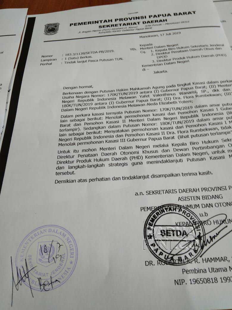 Pemprov Papua Barat Tuding Balik Watora dan Oknum Pegawai Kemendagri Bikin Pembohongan Publik