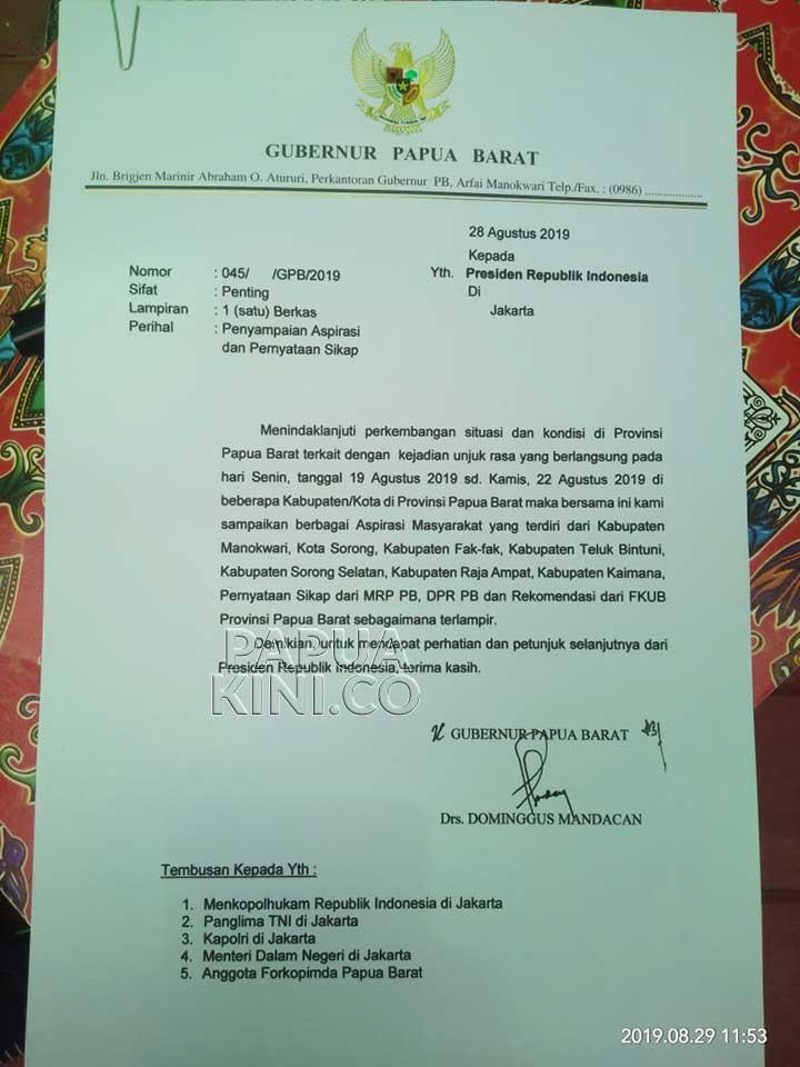 Gubernur Teken Surat Pengantar Aspirasi Masyarakat Papua Barat Soal Rasisme