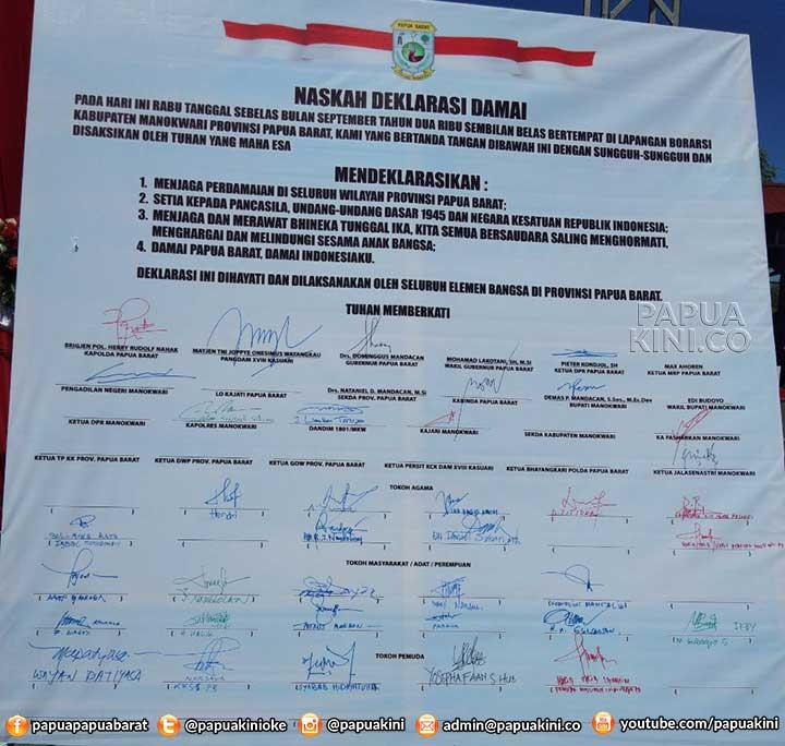 Deklarasi Damai Papua Barat Lantang Berkumandang di Manokwari