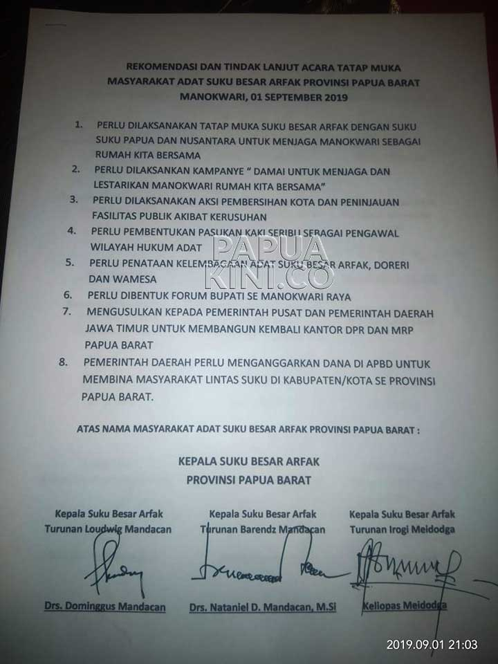 Suku Besar Arfak Minta Pemprov Jawa Timur Bangun Kantor DPR dan MRPB