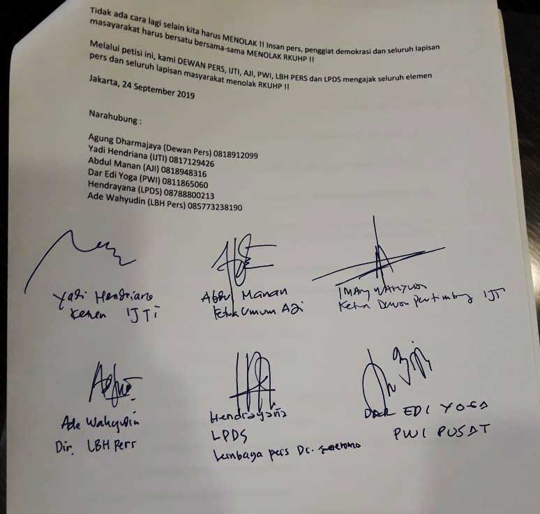 Dewan Pers, PWI, IJTI, AJI, LBH Pers, LPDS Tolak RKUHP