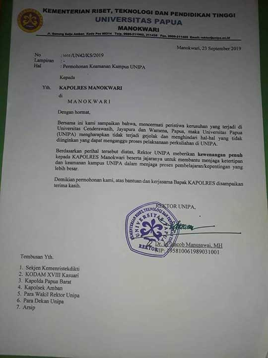 Universitas Papua Mohon Polisi Bantu Amankan Kampus
