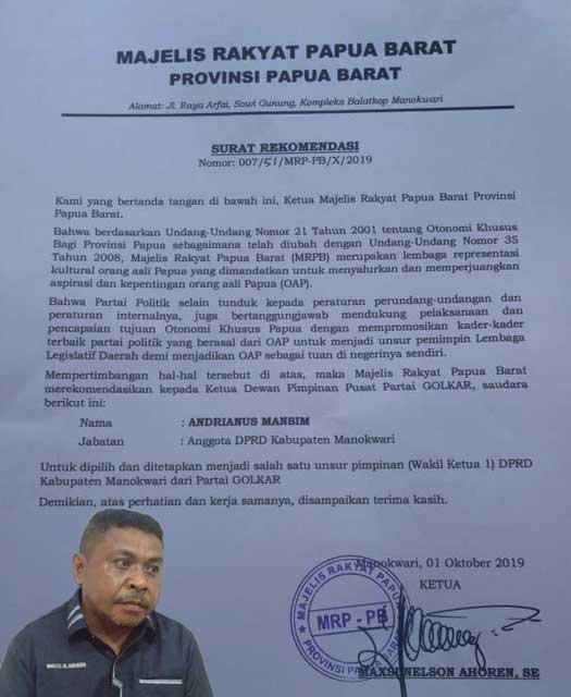 MRPB, Majelis Rakyat Papua, Majelis Rakyat Papua Barat, Ketua MRPB, Maxsi Nelson Ahoren,