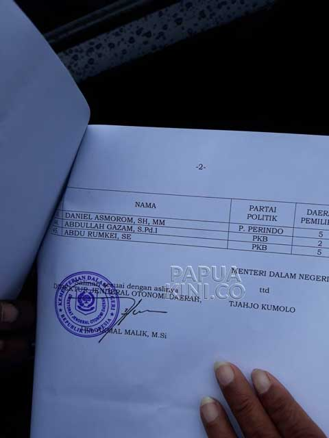 Ini SK Mendagri Buat DPR Papua Barat 2019-2024