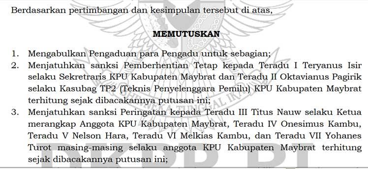 DKPP Berhentikan Tetap Sekretaris dan Kasubag TP2 KPU Maybrat
