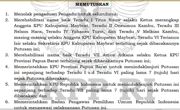 Aduan Michael Wattimena Ditolak DKPP