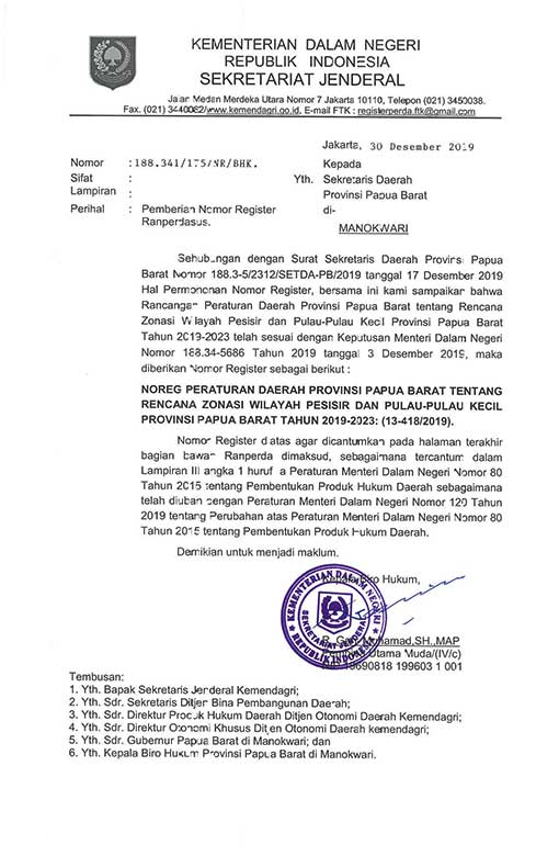 Kemendagri Terbitkan Nomor Registrasi Raperdasus RZWP3K Papua Barat