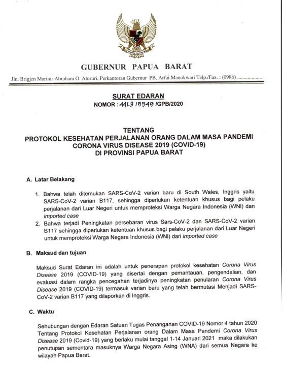 Antisipasi Mutasi Covid-19, WNA Dilarang Masuk Papua Barat