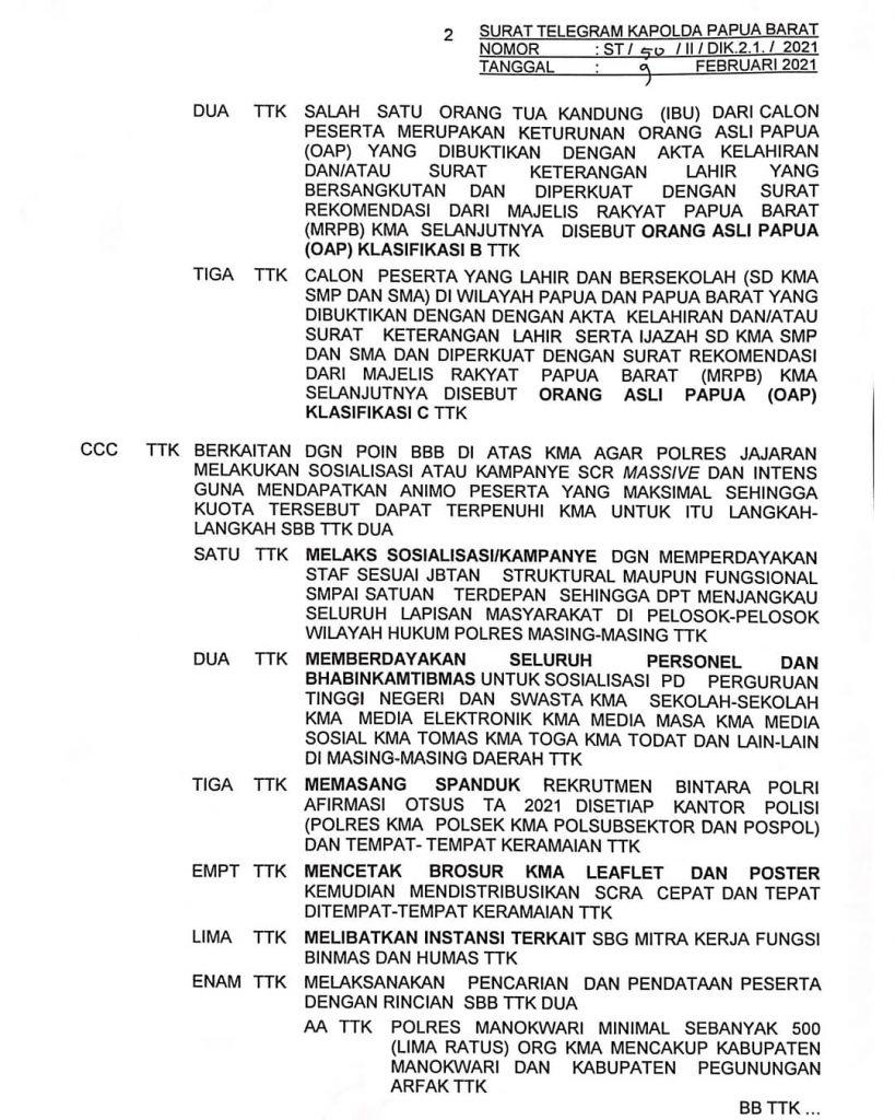 Ini Syarat dan Kuota Bintara Polri Otsus OAP 2021
