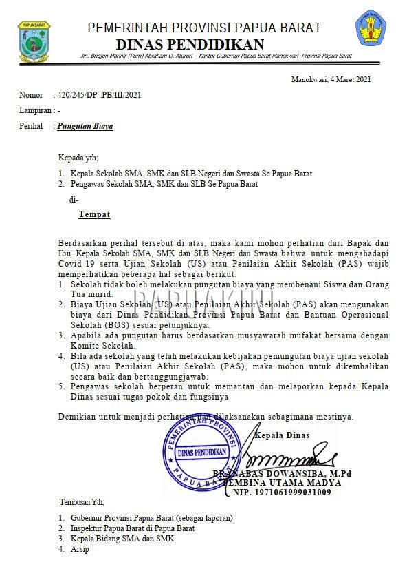 Dilarang Pungut Biaya Ujian Sekolah dan Penilaian Akhir Sekolah SMA/SMK dan SLB