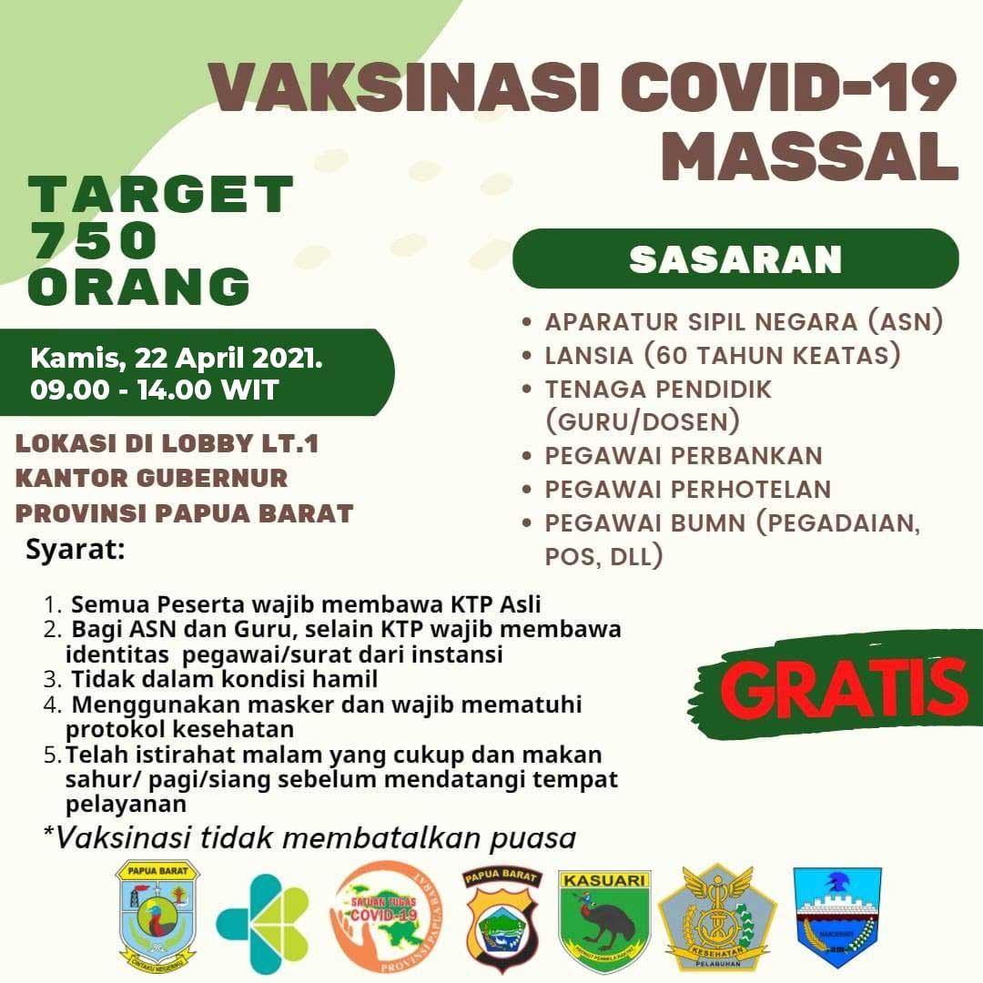 Yuk Vaksinasi Covid-19 di Pemprov Papua Barat