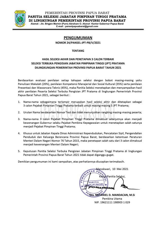 Ini 3 Besar Kandidat 5 Jabatan Eselon II Pemprov Papua Barat