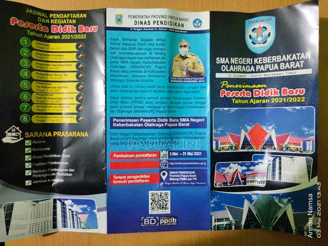SMA Keberbakatan Olahraga Papua Barat Buka Pendaftaran 3-30 Mei 2021