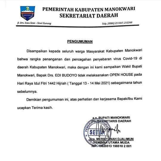 Wakil Bupati Manokwari Tak Open House Idul Fitri