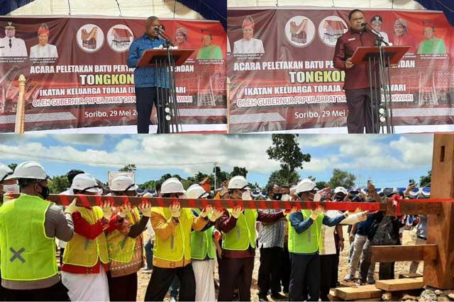 Gubernur Papua Barat Bupati Manokwari 7 Kali Pukul Pasak Tongkonan Toraja