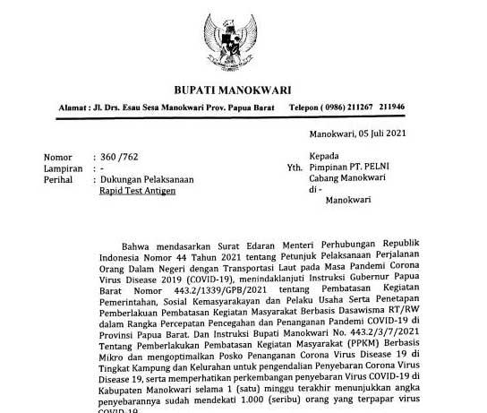 Bupati Manokwari Minta Pelni Tak Turunkan Penumpang Non KTP Papua Barat